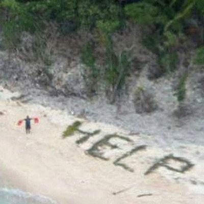 Skeppsbrutna på ön Fanadik i Mikronesien.