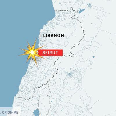 Karta över Libanon och Beirut.