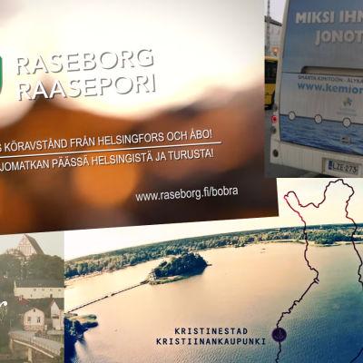 Kommunmarknadsföring från Raseborg, Kimitoön, Borgå och Kristinestad.