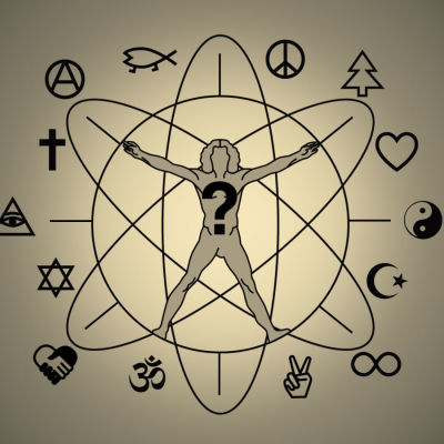 Människofigur omringad av religiösa figurer