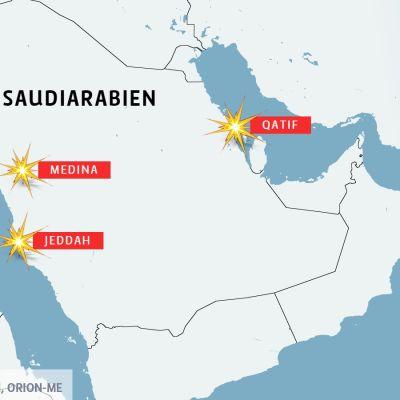 Karta över Saudiarabien och ställen för självmordsattentat.