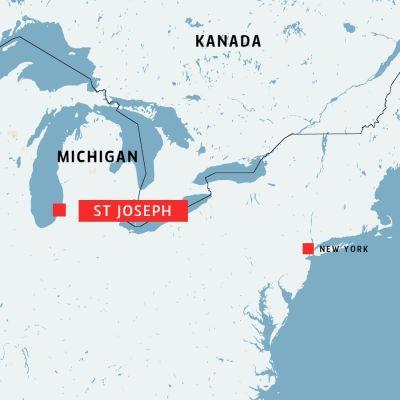 karta över östra delen av USA med delstaten Michigan och St Joseph.