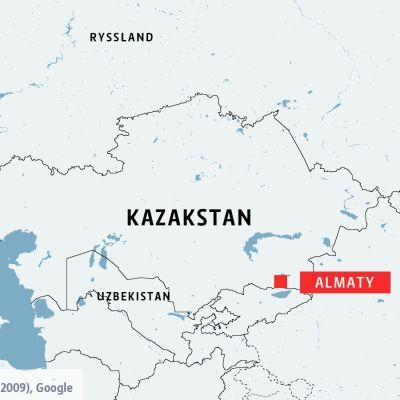 Karta över Almaty i Kazakstan.