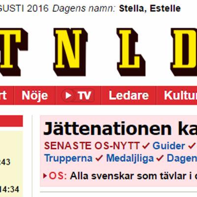 Skärmdump av Aftonbladets förstasida den 15 augusti 2016.
