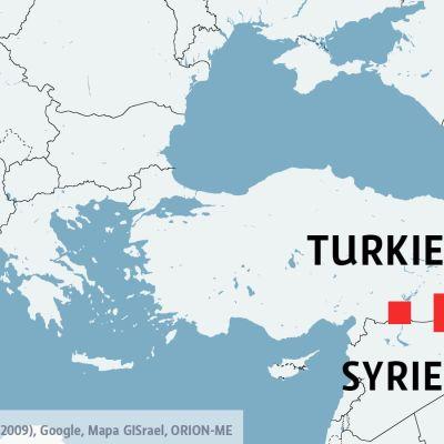 Karta över Turkiet och Syrien.