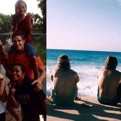 Samuel Snellman och hans medvolontärer samt barn på Hawaii.