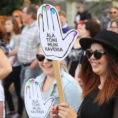 Prostest mot invandrarpolitiken i Kuopio sommaren 2016
