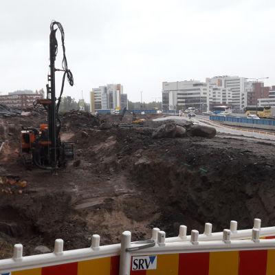 Byggarbete på Kägeludden i Esbo.