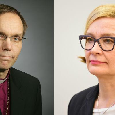 Biskop Björn Vikström och inrikesminister Paula Risikkp.