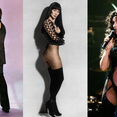 Montage av tre bilder av Cher från olika årtionden