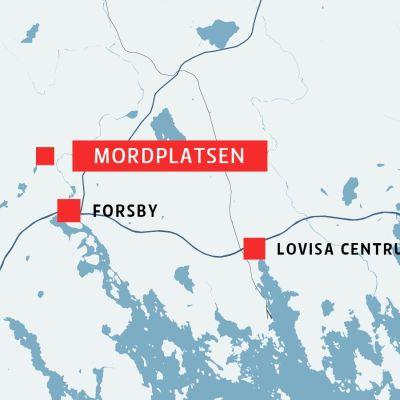 Karta med mordplats, Forsby och Lovisa centrum