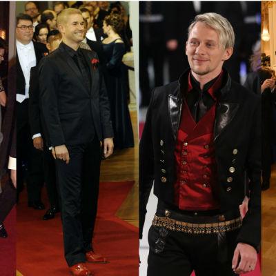 Fyra män i varierande festklädsel