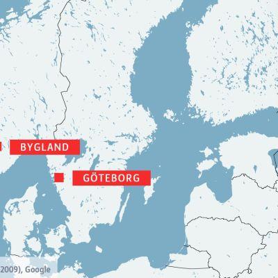 Karta över Skandinavien med Bygland och Göteborg.