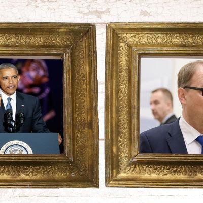 Bilder på Barack Obama och Juha Sipilä i guldramar.