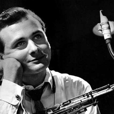 Porträtt av Stan Getz med saxofon