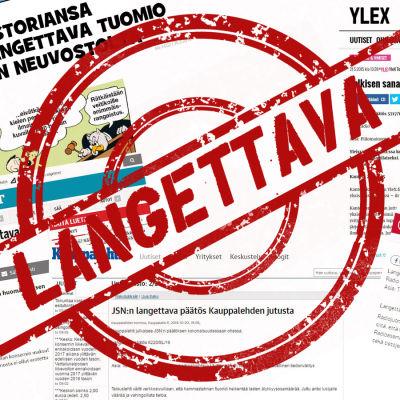 Langettava leima Julkisen sanan neuvoston langettavien päätösten päällä.