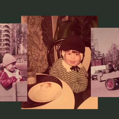 Barn och vuxna i Gamlas köpcentrum på 1980-talet