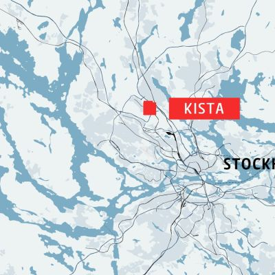 Karta som visar Kista i Stockholm