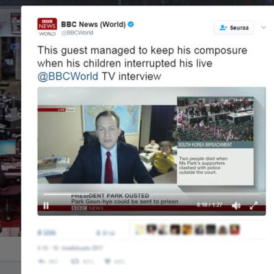 Professor Robert Kellys direktsända videointervju i BBC den 10 mars 2017 avbröts överraskande av att hans barn kom in i rummet.