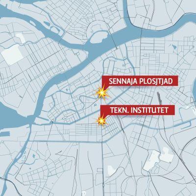 Karta över centrala S:t Petersburg som visar var explosionerna i metron ägde rum.