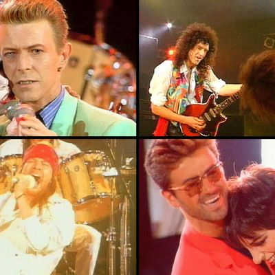 Kollaasi Freddie Mercuryn muistokonsertista: Annie Lennox & David Bowie, Brian May & Slash, George Michael & Liza Minnelli, Axl Rose