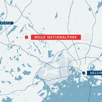 Kartan visar var Noux nationalpark ligger.