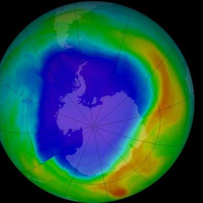 Satellitbild som visar ozonskiktets tjocklek.