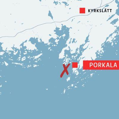 Karta över Kyrkslätt och Porkala.