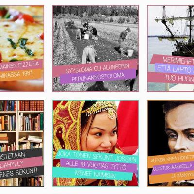 Tämäkin on totta -Instagram-tilin kuvia, joissa erilaisia faktoja
