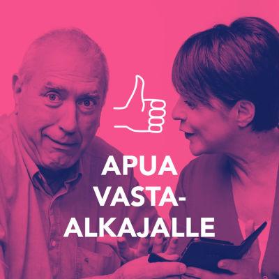 Hämmentynyt eläkeikäinen mies, jota Anna-Liisa Tilus neuvoo kännykän käytössä. Kuvassa tekstit: Apua vasta-alkajalle, Nettiä ikä kaikki.
