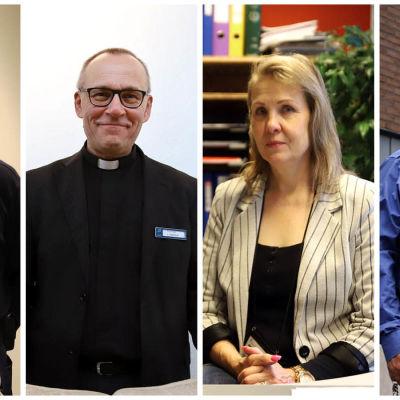 Kollaasissa Turun vankilan vartija Esko Mäkelä (vas.), pastori Tapio Pastila, apulaisjohtaja Heidi Urjanheimo ja työnjohtaja Mika Seirala.