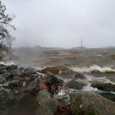 Kova tuuli synnyttää aallokkoa meren rannalla Vaasan edustalla 2.11.2020