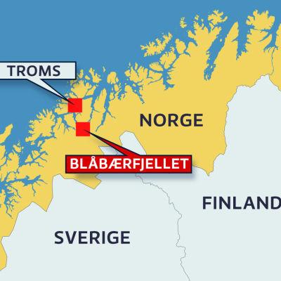 Karta över var Troms och fjället där finländarna misstänks ha försvunnit ligger.