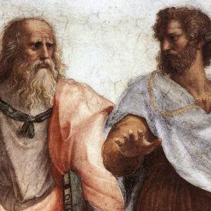 Rafaels målning av filosoferna Aristoteles och Platon