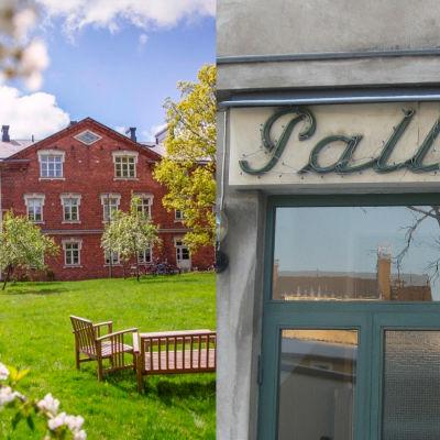 Ett bildkollage som visar det stora tegelhuset från 1899 i Billnäs, samt Bio Pallas fasad i Karis.