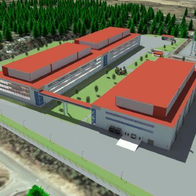 En visualisering av byggnader uppifrån.