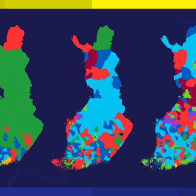 Karta med de partier som fick mest stöd i Eu-valet 2019 per koommun