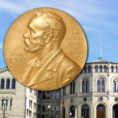 Norska stortinget med Nobelmedalj.