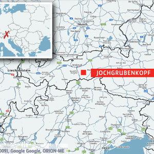 Karta som visar var Jochgrubenkopf är belägen.