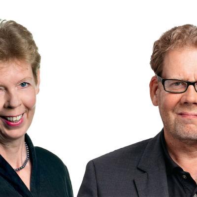 Tuula Sarotie ja Ville Vilén yhdistetyssä potrettikuvassa.
