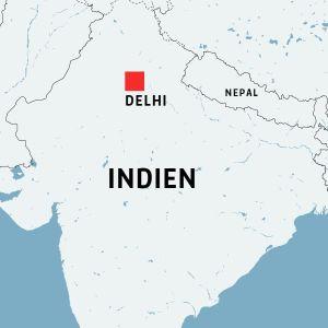 Kartan visar var Delhi ligger i Indien.