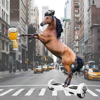 En häst med cykelhjälm som åker hoverboard i på en väg i New York med en öl i handen.