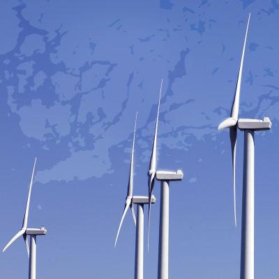 Bildmontage som visar några vindkraftverk med Västnylands karta i bakgrunden.