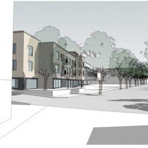 Skiss på ett kvarter med flervåningshus och en gata.