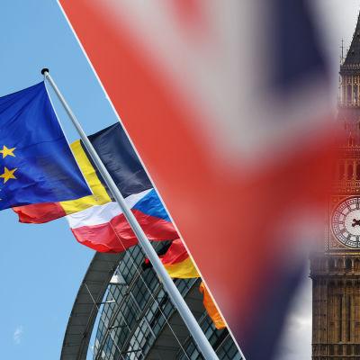 En bild av EUs flagga och Storbritanniens flagga samt Big Ben.