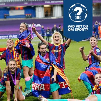 Barcelonas damer jublar efter Champions League-segern 2021.