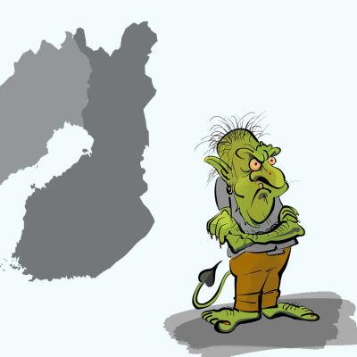 Illustration av internettroll och Sveriges och Finlands karta i bakgrunden.