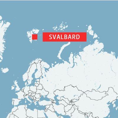 Karta som visar var Svalbard finns