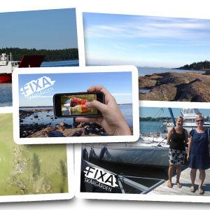 Collage med bilder från #fixaskärgården