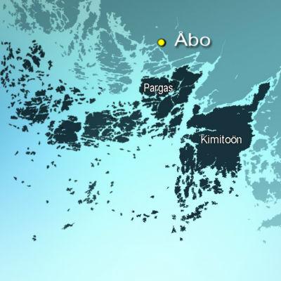 Karta över Pargas och Kimitoön.